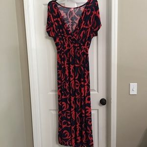 Plus Size Navy and coral swirl maxi dress
